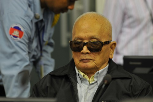 31 Aug 2011:Nuon Chea during the third day of Trial Chamber's preliminary hearing on fitness to stand trial © 2011 ECCC